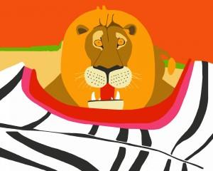 Leone con zebra