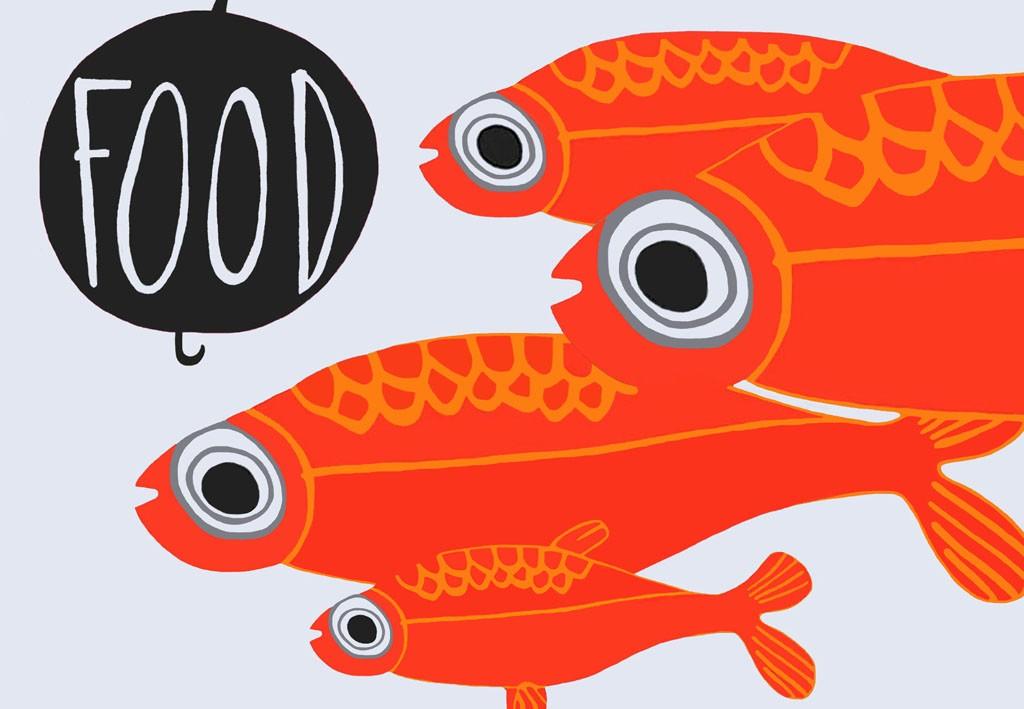 pesci rossi food_90 x 130 cm_tecnica mista su tela_2015_collezione privata