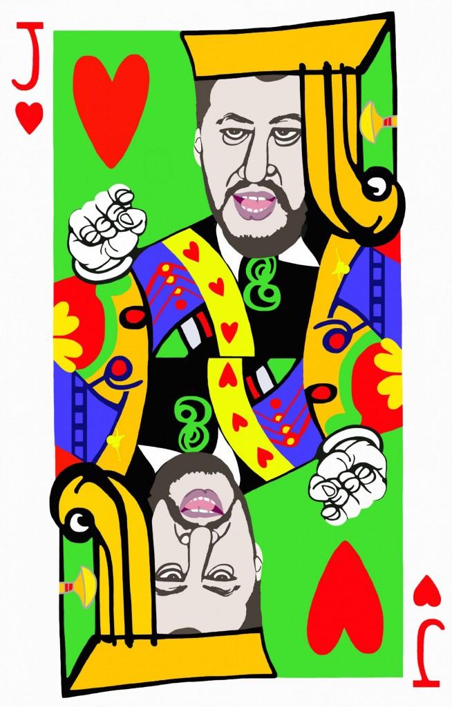 poker face_fante cuori_130 x 83 cm_tecnica mista su tela_2018